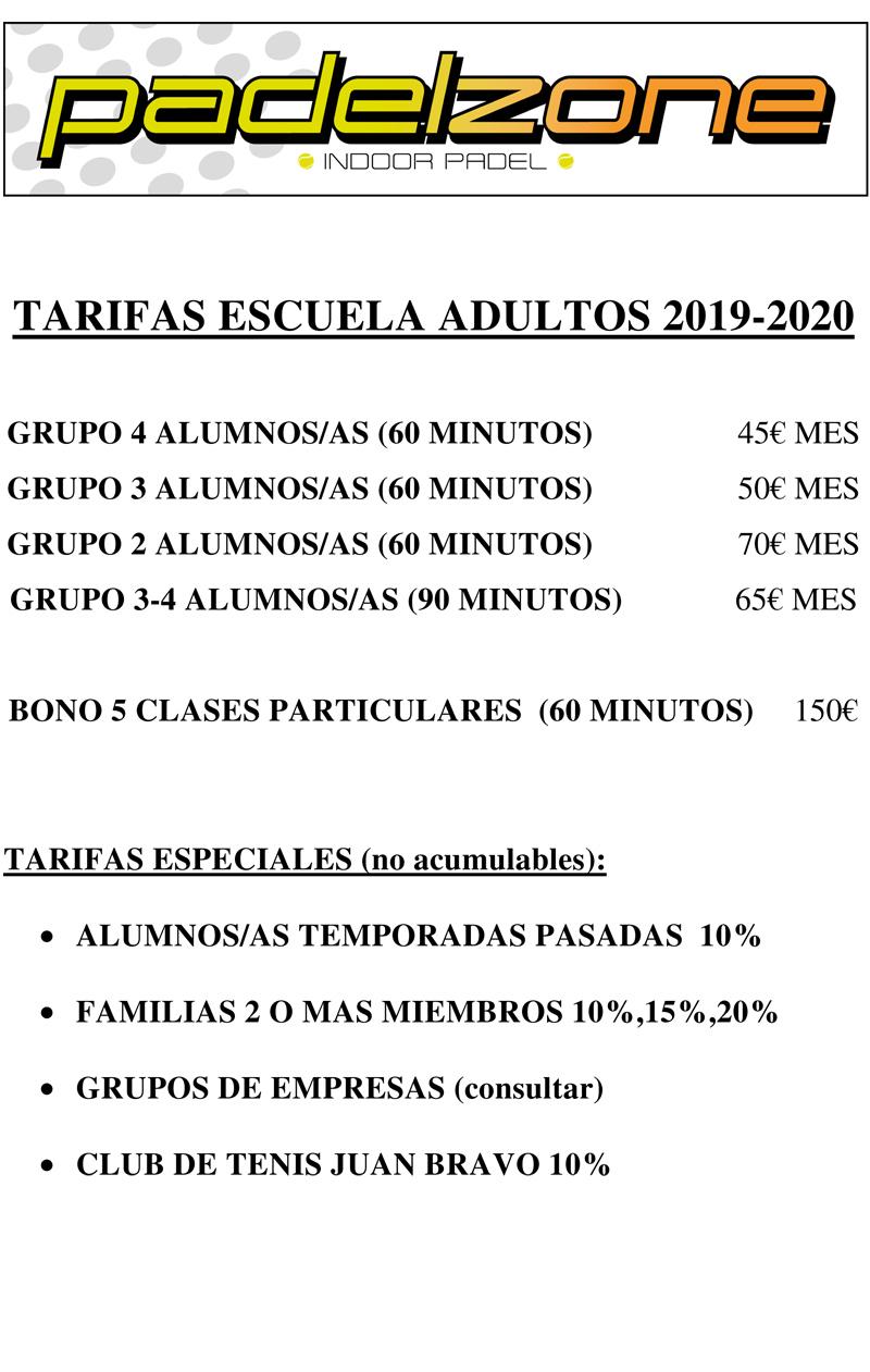 TARIFAS ADULTOS