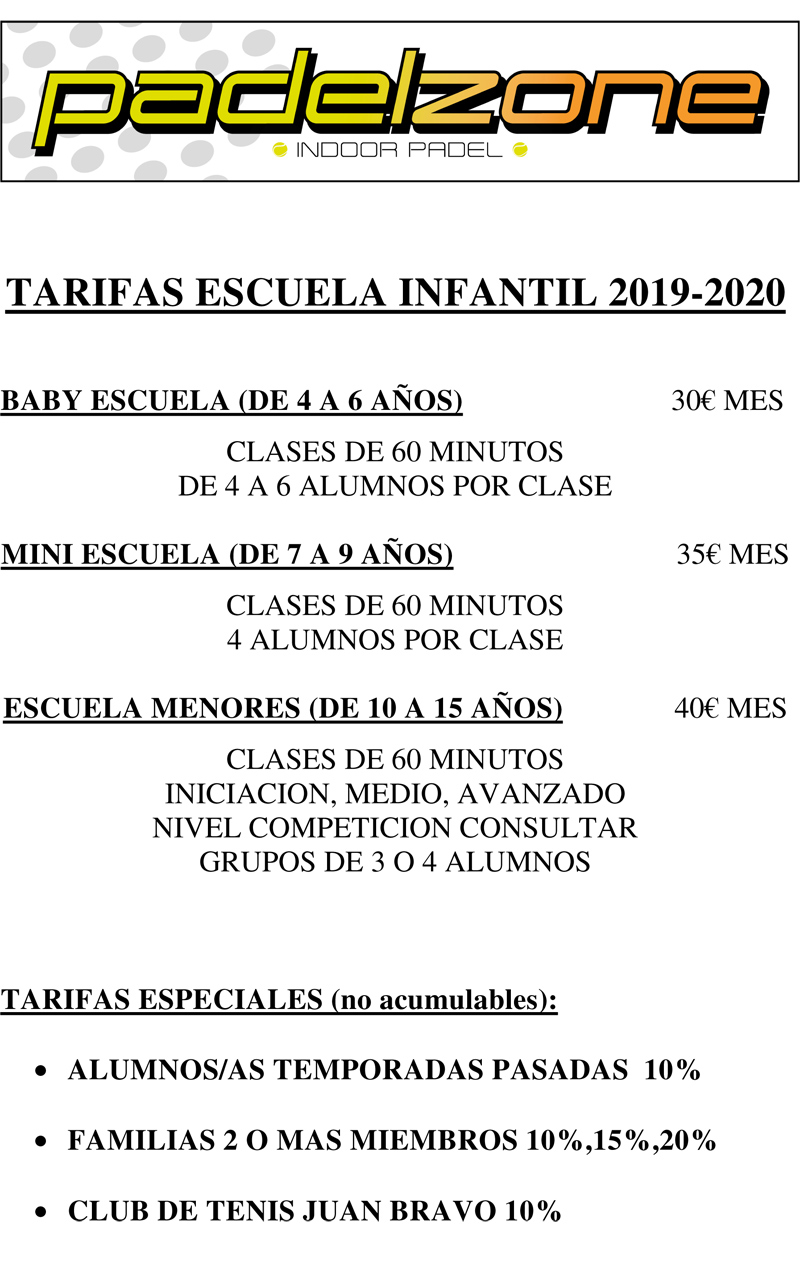 TARIFAS INFANTILES